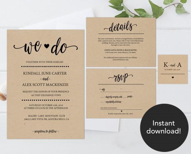 Cheap Rustic Wedding Invitations: Rustic Wedding Invitation Template, Wedding Invitation