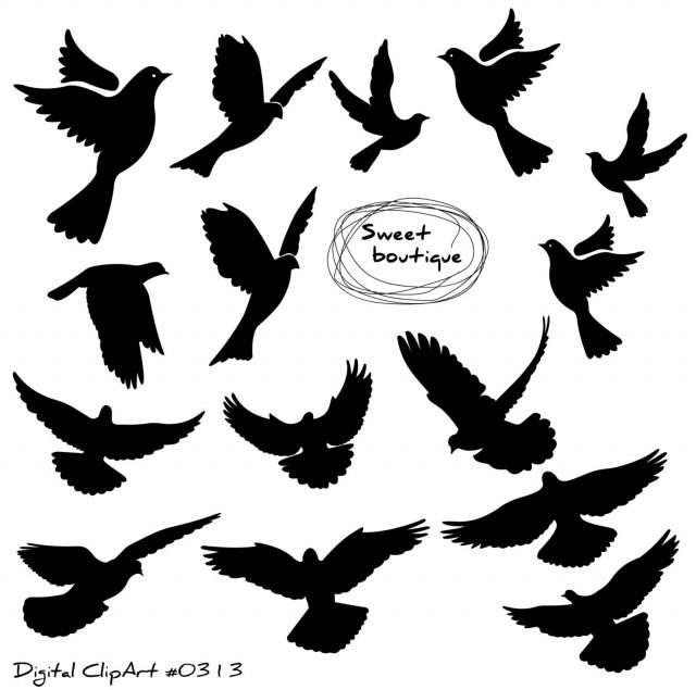 Birds Silhouette, Digital Bird Clip Art, Clipart Bird ...