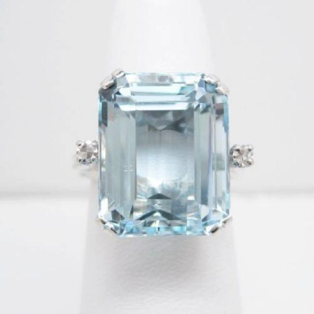 22ct 14k White Gold Vintage Aquamarine Ring Aqua Jewelry