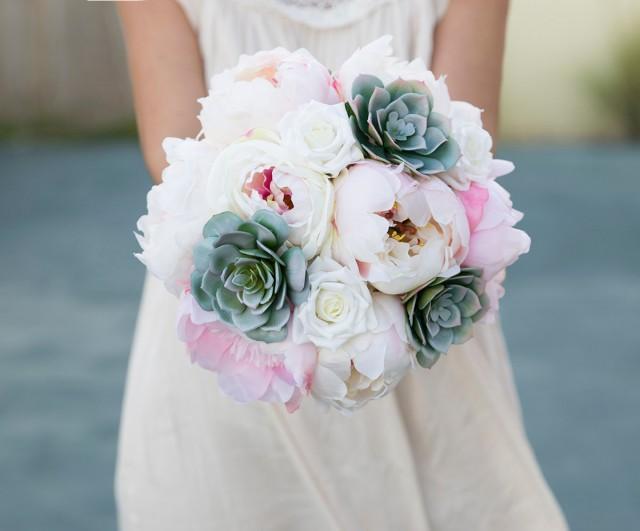 Silk Wedding Succulent Bouquet Green Gray Pink And Blush