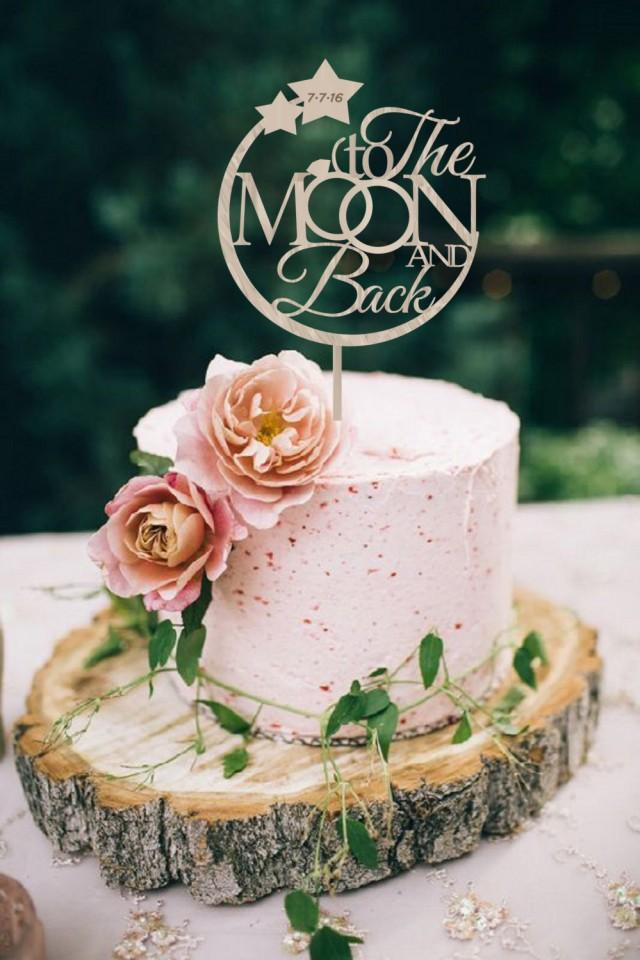 Silver Love You To The Moon And Back Cake Toppers