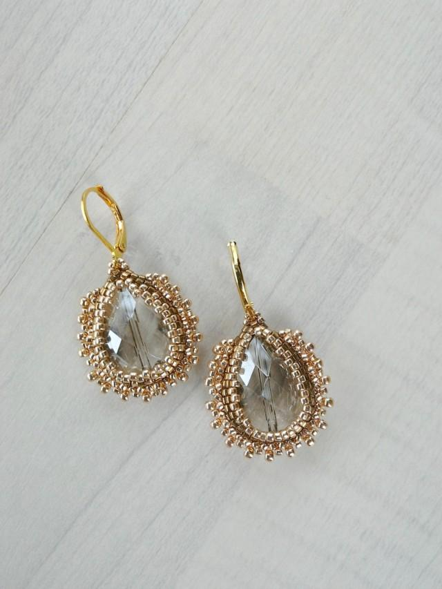 Bridal Gold Earrings Beadwoven Earring
