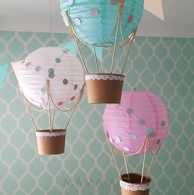 Whimsical hot air balloon decoration diy kit nursery for Baby shower decoration set