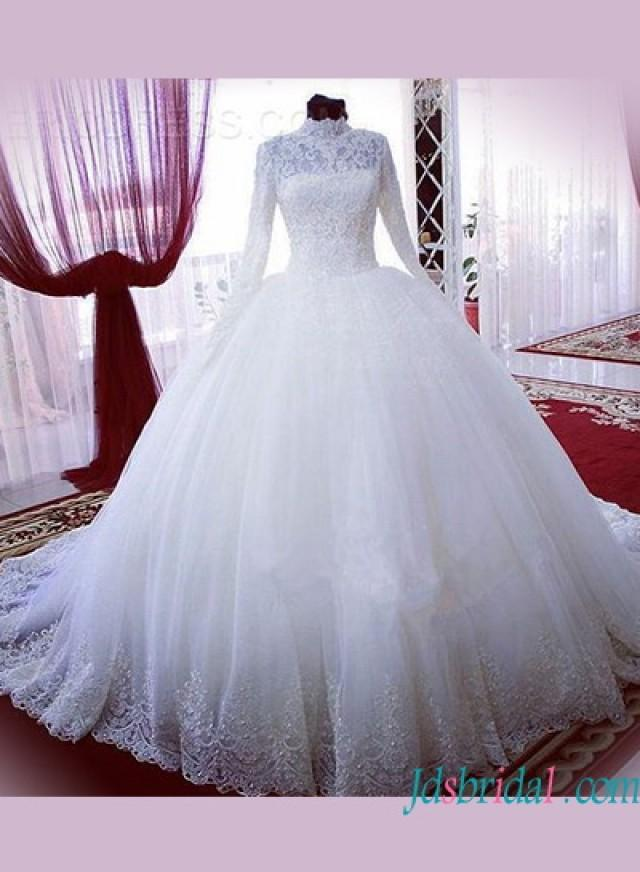 Modest High Neck Long Sleeves Lace Ball Gown Wedding Dress