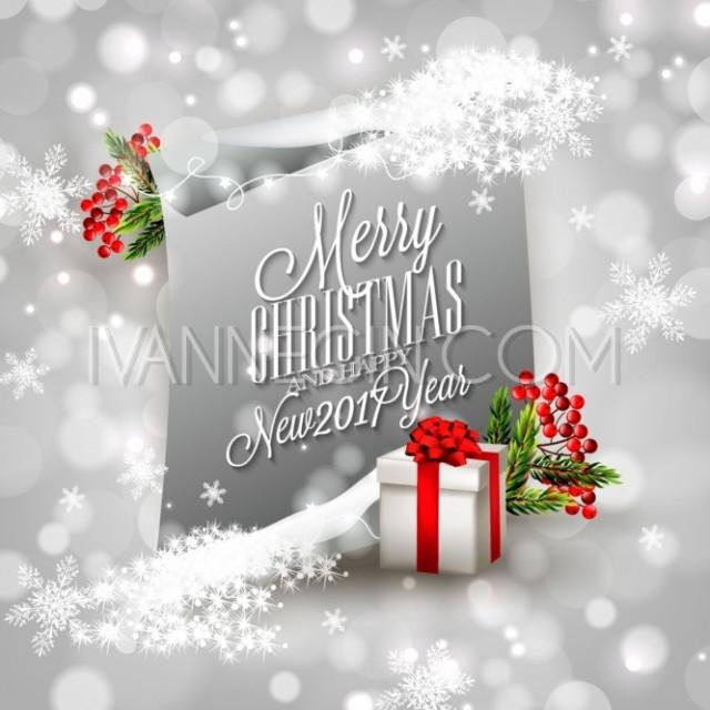 merry christmas and happy new year invitation template gift box balls lights garland pine tree unique vector illustrations christmas cards