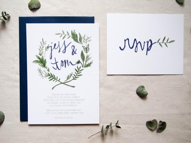 Sample Floral Wreath Bohemian Wedding Invitation The Olive