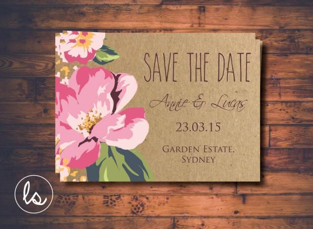 Diy Kraft Paper Wedding Invitations: Hibiscus Flower
