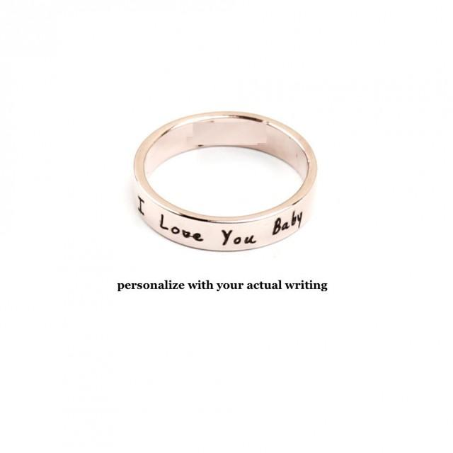 Handwriting Ring Personalized Rose Gold Ring Signature Ring