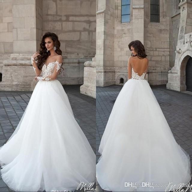 Milla Nova MARSELA Vintage Backless Wedding Dresses Sheer