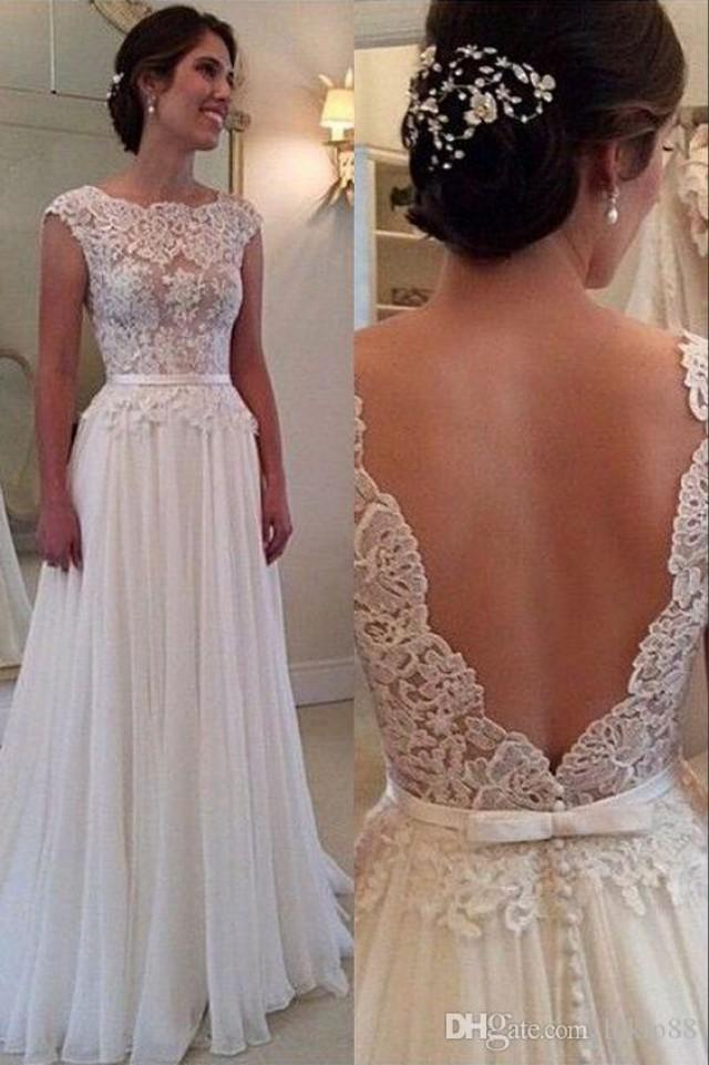 2016 elegant a line wedding dress with backless bateau for Vintage backless wedding dresses