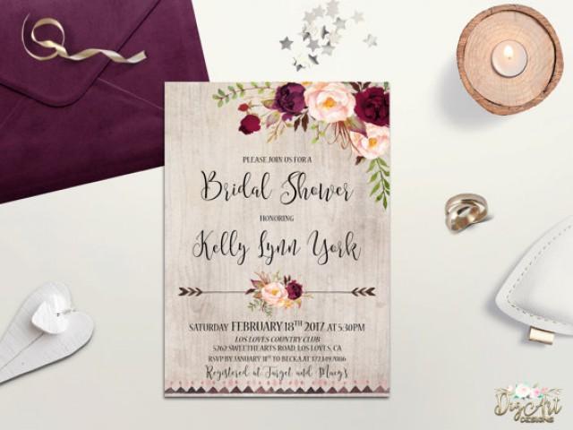 Rustic Bridal Shower Invitation Printable Boho Bridal