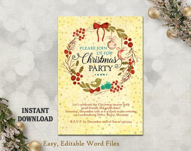 Printable Christmas Party Invitation Template Wreath
