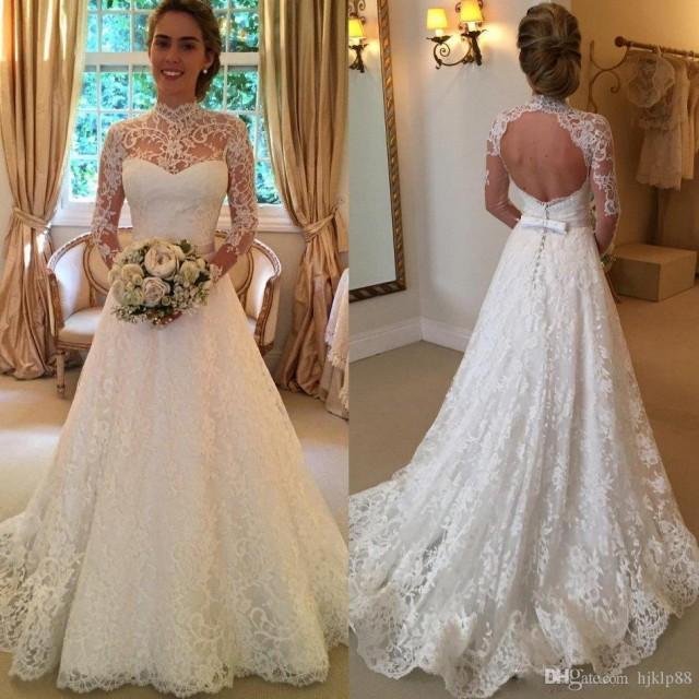 Simple A Line Long Sleeve Wedding Dress Elegant 2016: 2016 Vintage Full Lace Wedding Dresses Long Sleeve