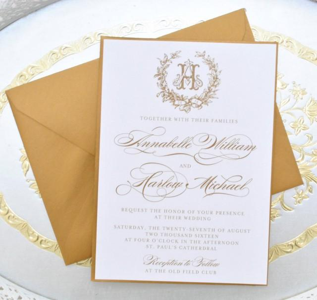 Gold Wedding Invitation Monogram Invitation Elegant