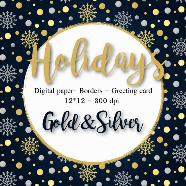 christmas clipart gold silver digital paper christmas cards borders winter clipart snowflakes xmas foil clipart gold scrapbook new year 2624083 weddbook