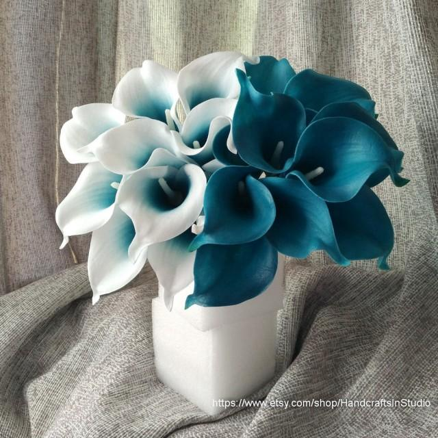 Oasis Teal Wedding Flowers Teal Blue Calla Lilies 10 Stem
