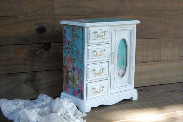 Shabby Chic Jewelry Box Jewelry Armoire White Aqua Decoupage Hand Painted Roses Wood Distressed Rustic Gift For Mom Gift For Her 2625132 Weddbook
