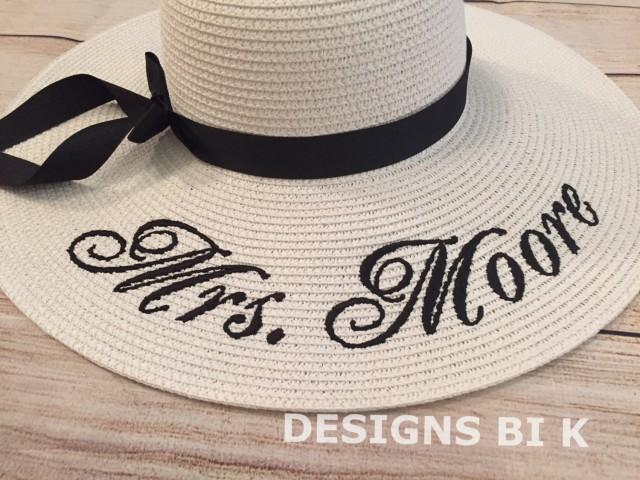 floppy straw hat  floppy beach hat  personalized floppy hat  monogrammed bride hat  bridesmaid