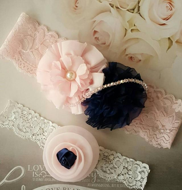 Plus Size Wedding Garters Sets: Blush And Navy Wedding Garter Set,Navy And Blush Wedding