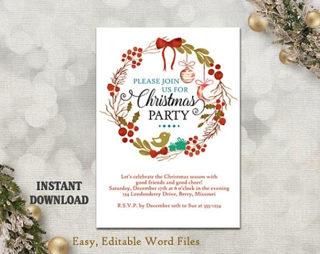 christmas party invitation template printable holly wreath holiday party card christmas. Black Bedroom Furniture Sets. Home Design Ideas
