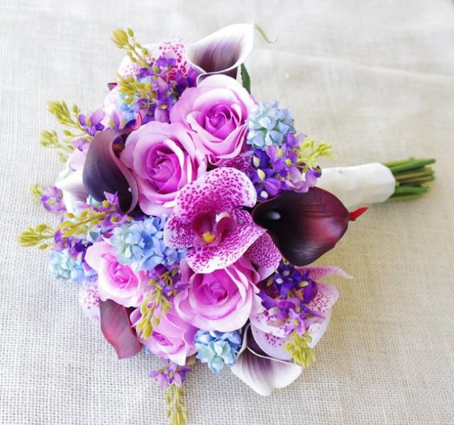 Wedding Purple Mix Of Fuchsia And Blue Lilac Natural Touch Orchids Callas Roses Silk Flower Bride Bouquet 2625719 Weddbook