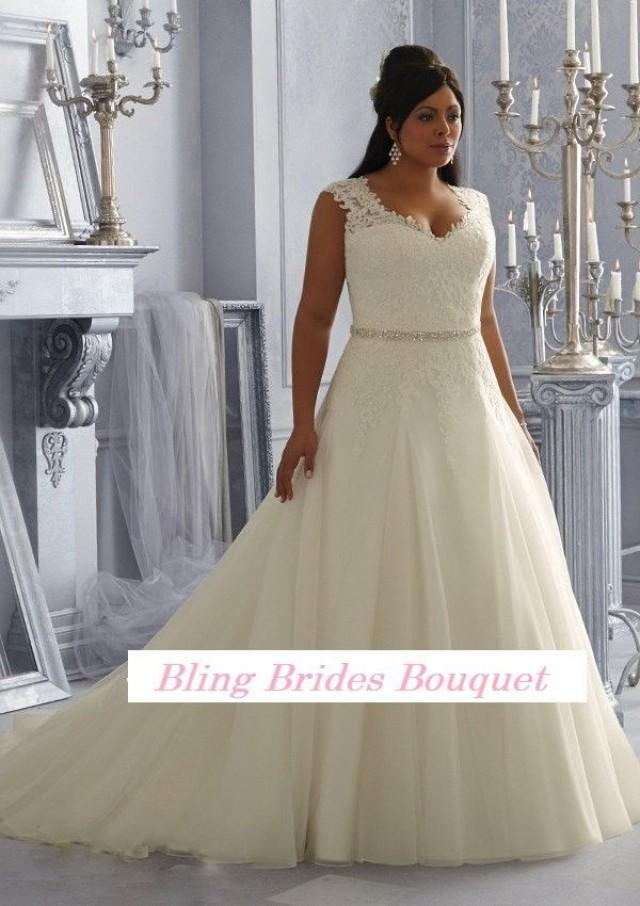 Bling Brides Fancy Y See Through Beading Lace Organza White Ivory A Line Plus Size Wedding Dress 2626245 Weddbook