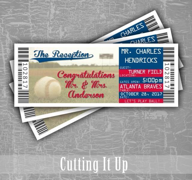 Baseball Wedding Escort Cards, Seating Cards, Baseball