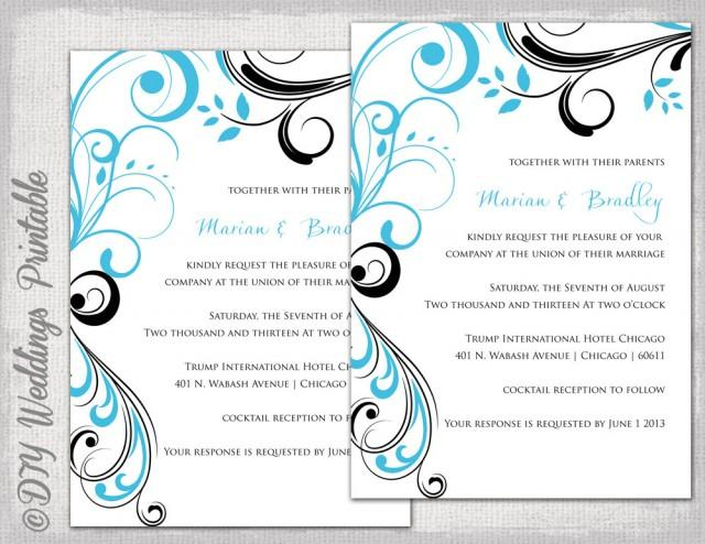 Wedding Invitation Templates Turquoise And Black Quot Scroll