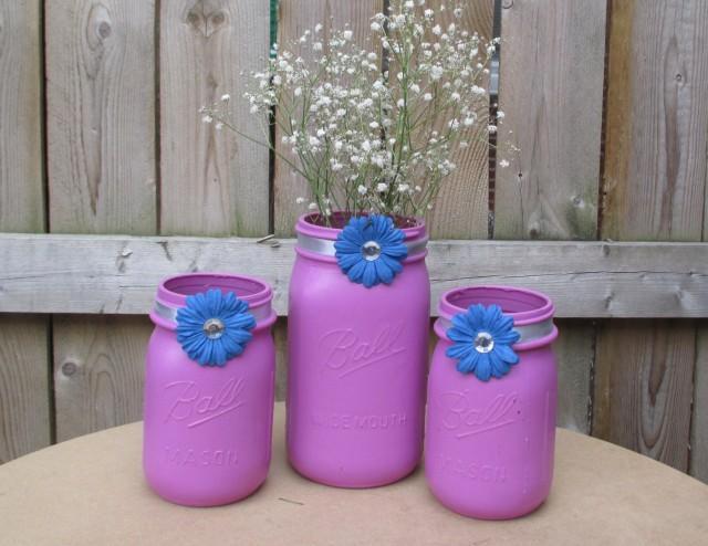 Pastel Wedding Orchid And Blue Wedding Mason Jar Centerpiece