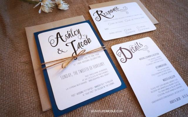 Farm Style Wedding Invitations: Rustic Navy Wedding Invitation With RSVP And Detail Card