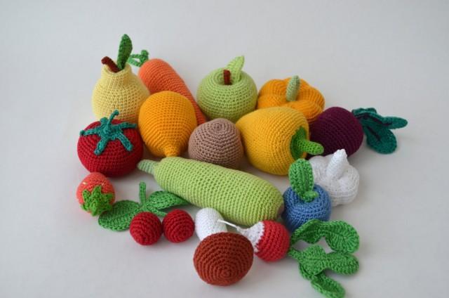 Plush Food Toys : Crochet knit vegetables fruit kitchen decor christmas