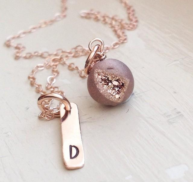 Rose Gold Initial Bar Necklace Druzy Agate Monogram Name