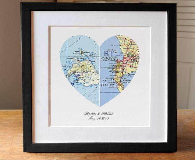 Gifts For Wedding Anniversary For Couple: Anniversary Gift, Wedding Gift, Map Art, Heart Map