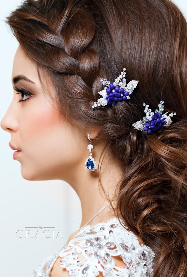 Blue Hair Pins Flower Pearl Bridal Navy Wedding Leaf Clip Fl 2631032 Weddbook