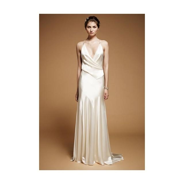 Cowl Neck Silk Sheath Wedding Gowns: Drew Sleeveless Silk Satin