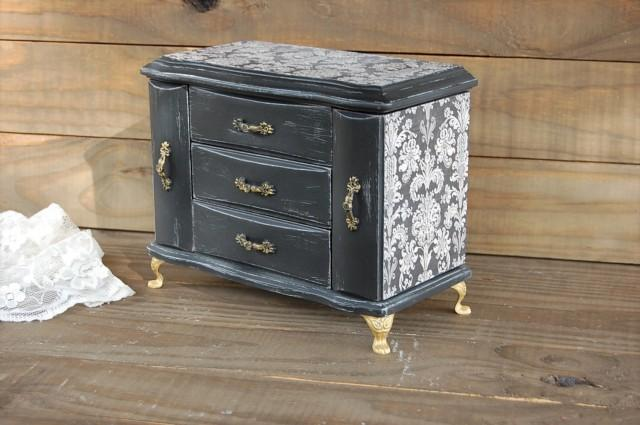 Jewelry Box Music Box Jewelry Armoire Shabby Chic Black Gold Damask French Decoupage Hand Painted Distressed Rustic Upcycled 2631118 Weddbook