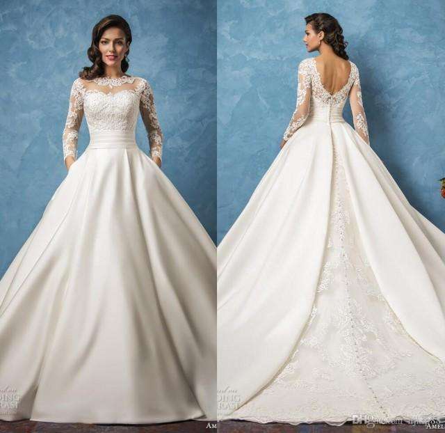Elegant Silk Wedding Dresses With Sleeves: 2017 New Arrival Amelia Sposa Sheer Long Sleeve Wedding