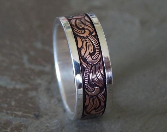 85mm PAISLEY Silver Copper Mens Wedding Ring Womens Band Unique 2631545