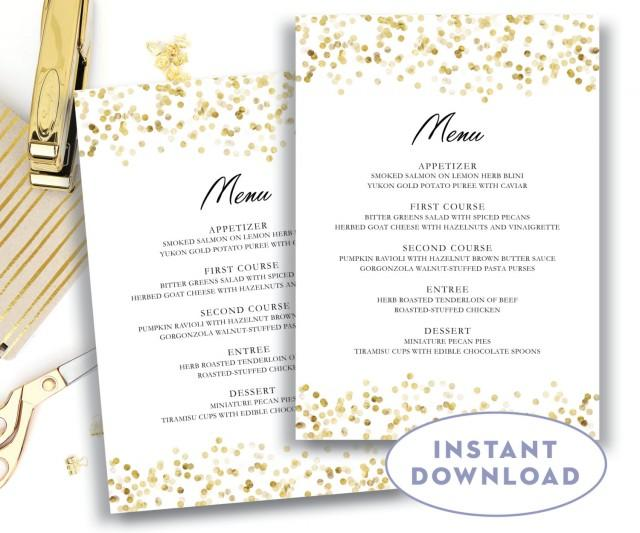 gold wedding menu template 5x7 editable text microsoft word menu card template gold confetti. Black Bedroom Furniture Sets. Home Design Ideas