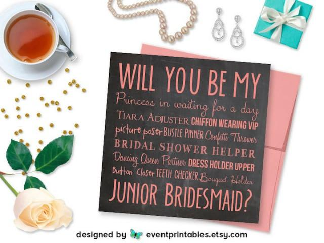Junior Bridesmaid Proposal Card Will You Be My Junior Bridesmaid Card DIGITAL DOWNLOAD Printable Burgundy Floral