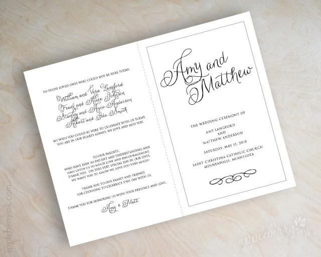 simple plain black and white script name bi fold wedding programs ceremony programs mass. Black Bedroom Furniture Sets. Home Design Ideas