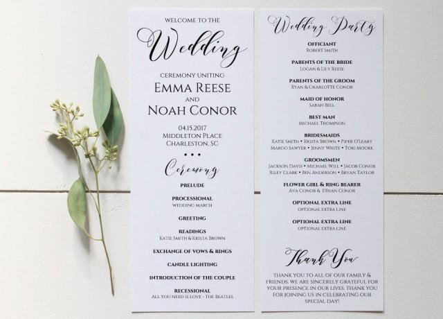 wedding program printable  wedding program template  editable wedding program  rustic wedding