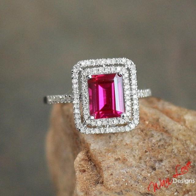 Ruby Amp Diamond 2 Halo Engagement Ring 2ct 8x6mm Custom