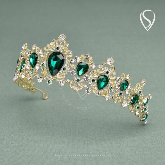 Light Gold Wedding Crown Vintage Bridal Tiara Emerald
