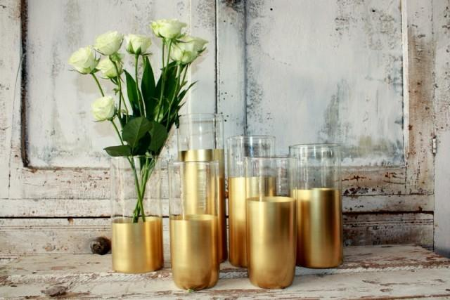 Gold Wedding Decor 6 Custom Gold Dipped Cylinder Vases Or