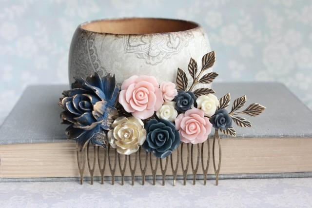 Navy Rose Hair Comb Big Floral Hair Piece Blush Pink And Gold