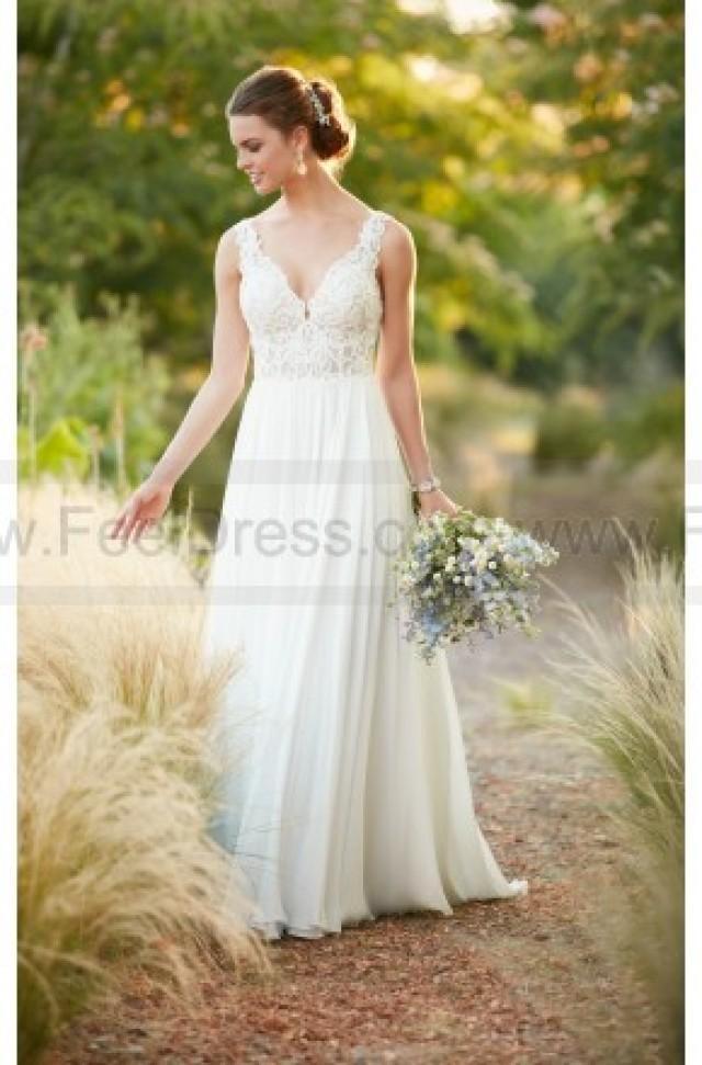 Essense Of Australia Beach Boho Chiffon Wedding Dress Style D2292