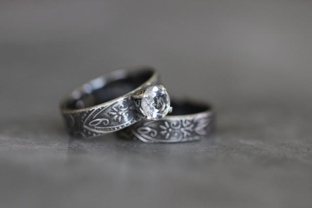 Wedding Ring Set Engagement Ring White Topaz Prong Setting
