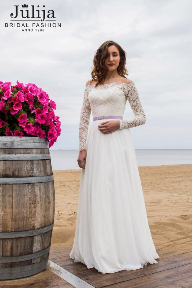 Simple wedding dress with long sleeve closed lace back for Slimming undergarments for wedding dress