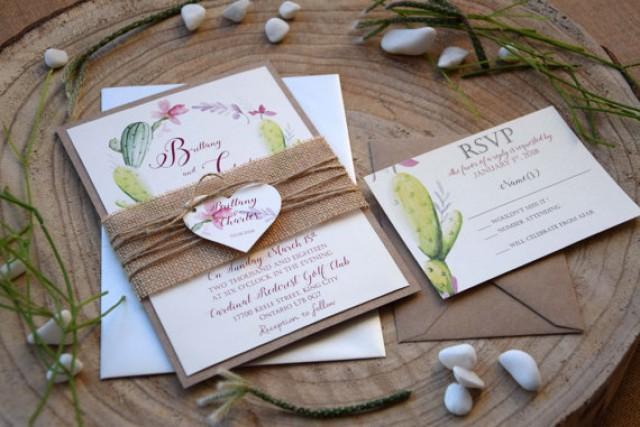 Environmentally Friendly Wedding Invitations: Rustic Garden Wedding Invitation, Floral Cactus Wedding